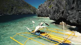 Philippines traditional boat near a beautiful shore stock video