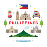 Philippines Travel Attraction Label. Landmarks, Tourism and Traditional Culture stock illustration