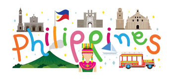 Philippines Travel and Attraction. Landmarks, Tourism and Traditional Culture royalty free illustration