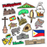 Philippines Travel Set with Architecture and Animals for Prints, Stickers and Badges. Vector doodle stock illustration