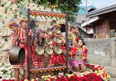 Philippines tribal drummers on festival float Stock Photo