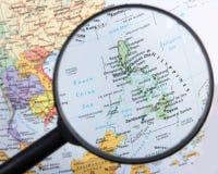 Philippines under magnifier. Destination Philippines under magnifying glass Stock Photo