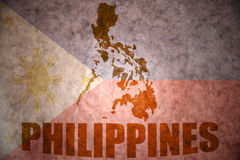 Philippines vintage map. Philippines map on a vintage philippine flag background Stock Image