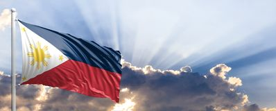 Philippines flag on blue sky. 3d illustration. Philippines waving flag on blue sky. 3d illustration vector illustration
