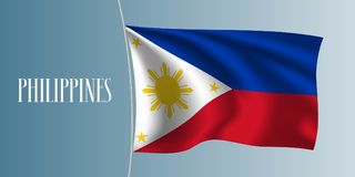 Philippines waving flag vector illustration. Iconic design element as a nationalPhilippino symbol Stock Photos