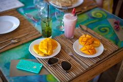 Philippino breakfast with mango Royalty Free Stock Photography
