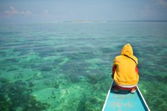 Philippino man on a nose of bangka boat Stock Images
