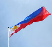 Philipppine flag. Philippine flag waving under the blue sky stock images