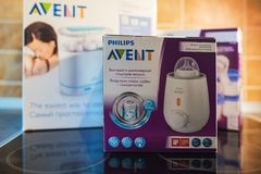 Philips Avent-baby het voeden producten Stock Foto
