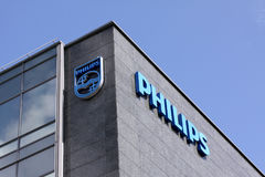 Philips company logo sign on building. Philips company logo sign. Philips is a Dutch technology company headquartered in Amsterdam with primary divisions focused Stock Photography