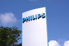 Philips company logo sign on sign board. Philips company logo sign. Philips is a Dutch technology company headquartered in Amsterdam with primary divisions Stock Image