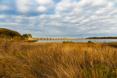 Philips Inlet. Beautiful Philips Inlet in the North Florida panhandle area near Panama City with the highway 98 bridge in the background Royalty Free Stock Photos