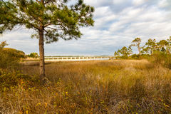 Philips Inlet. Beautiful Philips Inlet in the North Florida panhandle area near Panama City with the highway 98 bridge in the background Stock Photo