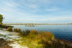 Philips Inlet. Beautiful Philips Inlet in the North Florida panhandle area near Panama City with the highway 98 bridge in the background Royalty Free Stock Image