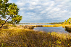 Philips Inlet. Beautiful Philips Inlet in the North Florida panhandle area near Panama City with the highway 98 bridge in the background Royalty Free Stock Images