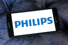 Philips logo. Logo of philips company on samsung mobile phone a5 Royalty Free Stock Image
