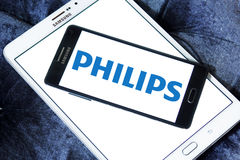 Philips logo. Logo of philips company on samsung mobile phone a5 on samsung tablet Stock Photography