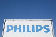 Philips logo on a panel. Beligneux, France - January 26, 2016: Philips is a Dutch technology company headquartered in Amsterdam with primary divisions focused in Stock Photography