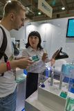 Philips Sonicare electric toothbrush booth during CEE 2017 in Kiev, Ukraine. People visit Philips Sonicare electric toothbrushes manufacturer booth during CEE Stock Images
