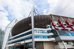 Philips Stadion in Eindhoven, Netherlands. Eindhoven, Netherlands - April 12, 2016: Philips Stadion in Eindhoven. It is a football stadium, home of PSV Eindhoven royalty free stock image