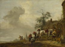 Philips Wouwermans - лошадь будучи обуванным вне кузницы деревни стоковые фото