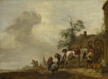 Philips Wouwermans - een Paard die buiten een Dorpssmidse worden geschoeid stock foto's