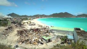 Philipsburg, Saint Martin-abril 13,2018: Dano do furacão em St Martin Furacão Maria e Irma video estoque