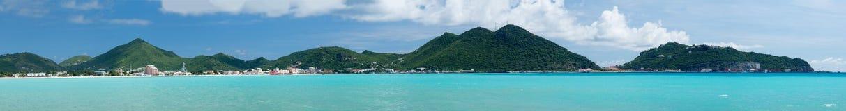 Philipsburg Sint Maarten全景  免版税库存照片