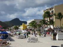 Philipsburg, Sint Maarten. Beach in the center of Town Stock Photography