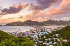 Philipsburg, Sint Maarten, Dutch Antilles. Downtown on the Caribbean after sunset royalty free stock image