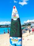 Philipsburg, Sint Maarten - 13 février 2013 : La plage chez Maho Bay Images stock