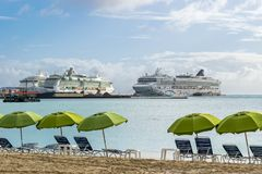 Norwegian NCL Star, Royal Caribbean Jewel, Royal Caribbean Serenade Cruise Ships docked in Philipsburg Sint Maarten royalty free stock photography