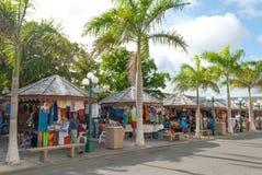 Philipsburg turist Market Place på Sint Maarten II Fotografering för Bildbyråer