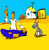 Philisopher with a donkey cartoons Stock Image
