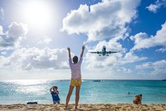 Maho Beach, Philipsburg, Sint Maarten, Dutch Antil Royalty Free Stock Photos