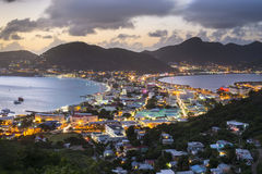 Philispburg, Sint Maarten, Dutch Antilles. Philipsburg, Sint Maaren, Dutch Antilles nighttime townscape at the Great Salt Pond royalty free stock images