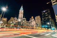 Philladelphia urząd miasta noc obraz royalty free