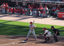 Philles Chase Utley stands into the batters box with bat on sho Stock Photos