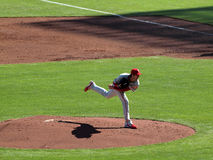 Philles Pitcher steps though pitch Royalty Free Stock Photo