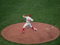 Phillies Joe Blanton steps forward to throw pitch Stock Images
