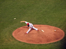 Phillies reliever Ryan Madson steps forward to throws hard from Royalty Free Stock Images