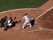 Phillies Shane Victorino looks at incoming pitch Stock Image