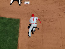 Phillies Shane Victorino runs towards 2nd Royalty Free Stock Photo