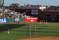 Phillies standing in the outfield during BP Stock Image