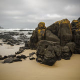 Phillip Island Beach and Rock Outcrop. Rock outcrop on a surf beach on Phillip Island, Victoria, Australia. With overcast sky Royalty Free Stock Photography