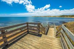 Phillip Island Walkway. Spectacular lookout from the wooden walkway in Flynns Beach, Phillip Island in summer, Victoria, Australia Stock Image