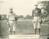 Phillips Academy Baseball players: Young Burdett and Riley, 1908 Royalty Free Stock Image