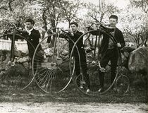 Phillips Academy students cycling, c. 1900 Royalty Free Stock Image