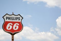 Phillips 66 Retro Sign. Phillips 66 Petroleum Company Old style service station sign Royalty Free Stock Photos