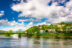 Phillipsburg, New Jersey, seen across the Delaware River from Ea royalty free stock image